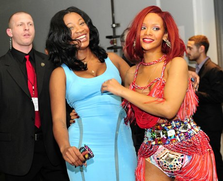 Rihanna backstage at the Grammy Awards