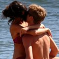 Justin Bieber kissing girlfriend Selena Gomez in the sea