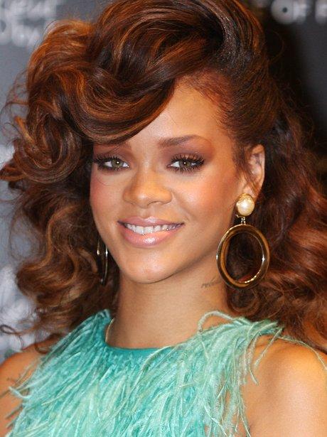 Rihanna with auburn hair