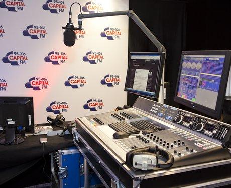 The empty Capital FM studio at the O2 Arena
