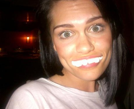 Jessie J poses with marshmellows in her mouth