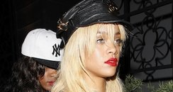 Rihanna arrives at a night club in Los Angeles.
