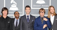 Maroon 5 on the red carpet at the Grammy Awards.