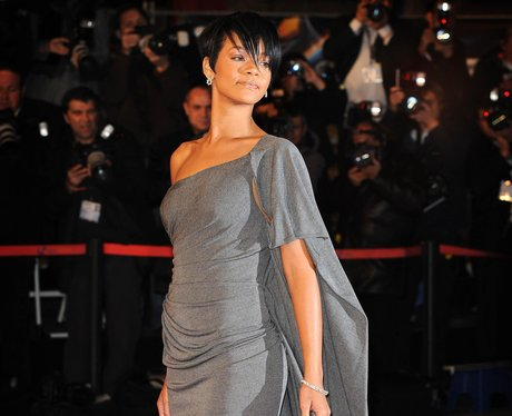 Rihanna with short dark brown hair
