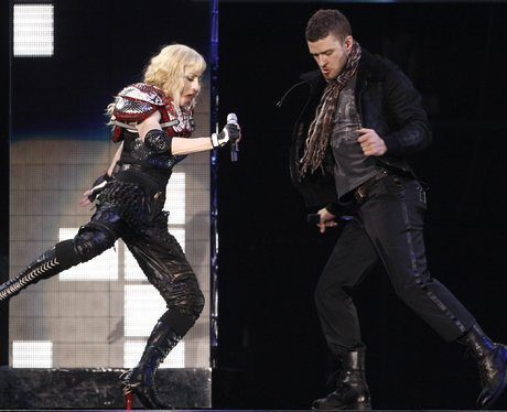 Madonna and Justin Timberlake on stage