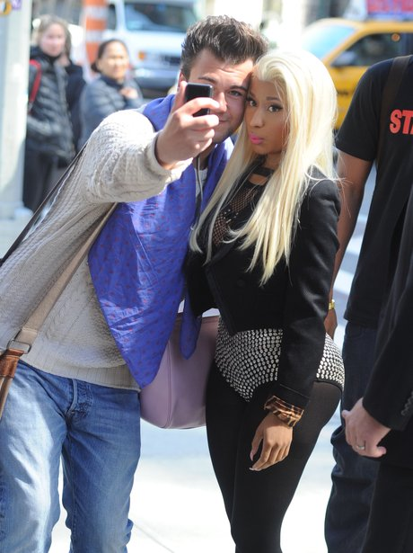 Nicki Minaj Steps Out In New York City In Studded Leather Pants