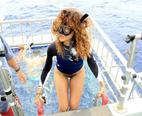 Rihanna wearing a snorkel on holiday.