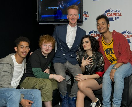 Jessie J, Ed Sheeran and Rizzle Kicks backstage at
