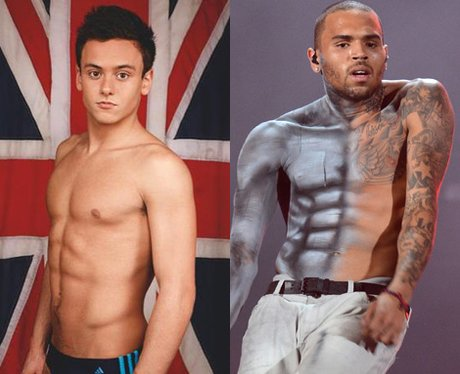 Tom Daley and Chris Brown abs