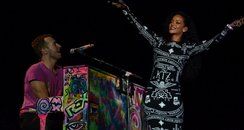 Rihanna and Coldplay performing in paris