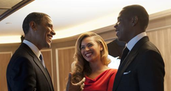 Jay-Z and Beyonce meet Barack Obama