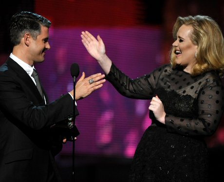 Adele and Paul Epworth at GRAMMY Awards 2012