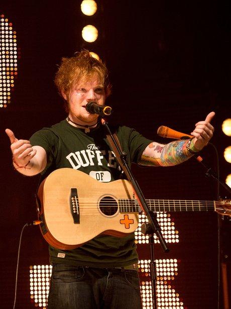 Ed Sheeran performs in Los Angeles.