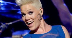 Pink performs live on stage