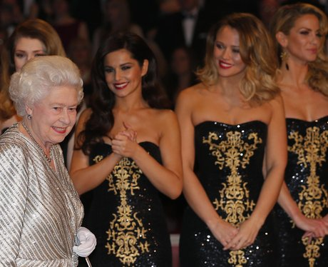 Girls Aloud with Queen Elizabeth at Royal Variety Performance