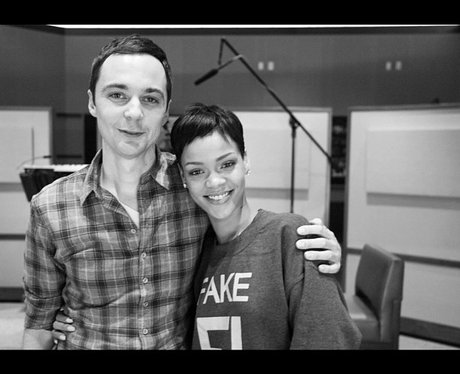 rihanna with Sheldon from The Big Bang Theory
