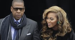 Jay-Z and Beyonce arrive at the ceremonial swearin