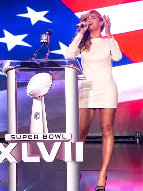 Beyonce at her Super bowl press conference