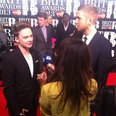 Calvin Harris and Conor Maynard BRITs red carpet