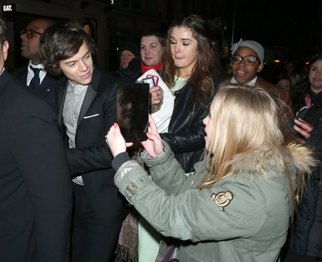 Harry Styles meets fans outside a BRITs 2013 after party