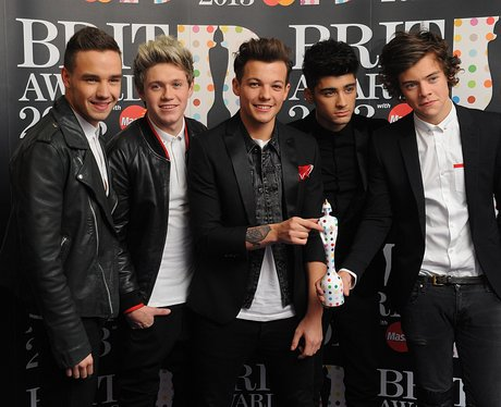 One Direction backstage at the BRIT Awards 2013