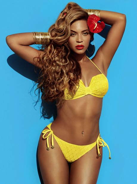 Beyonce's wearing a yellow bikini in her H&M summer collection 2013