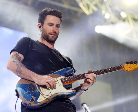 Maroon 5's Adam Levine playing guitar at Wango Tango