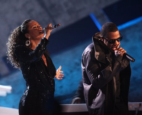 Jay Z and Alicia Keys perform on stage