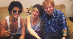 Ed Sheeran, Bruno Mars and Ellie Goulding