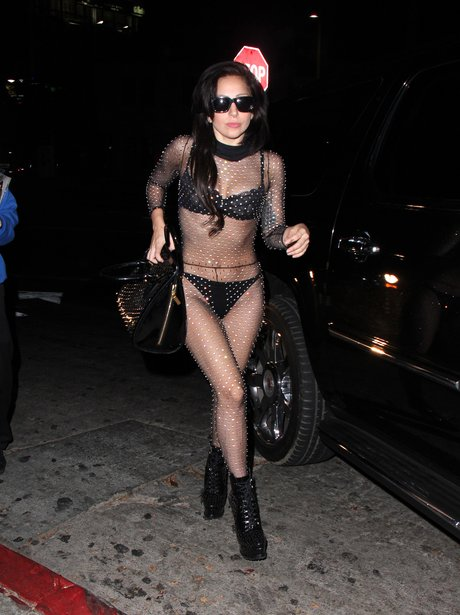 Lady Gaga wearing a see through jumpsuit