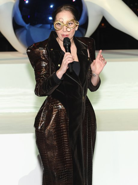 Lady Gaga wearing glasses at her 'ARTPOP' launch party