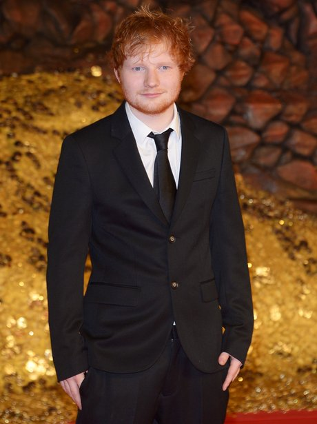 Ed Sheeran attends the Hobbit premiere