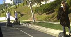 Justin Bieber and Selena Gomez on Segways