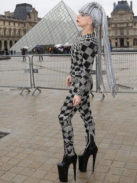 Lady Gaga attends Paris fashion week with grey wig