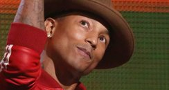 Pharrell Williams on stage at the Grammy Awards 20