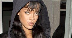 Rihanna wearing denim outfit