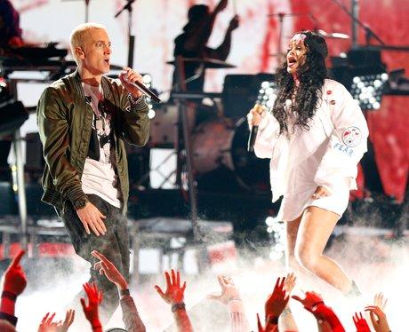 Rihanna and Eminem perform at the MTV Movie Awards