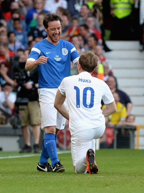 Olly Murs and james McAvoy at Soccer Aid 2014