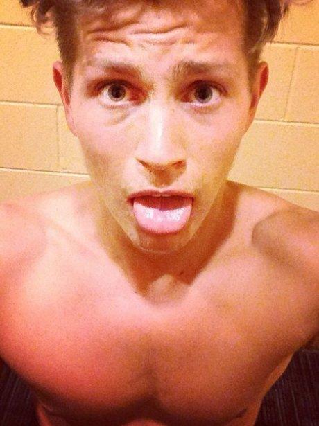 James The Vamps topless selfie