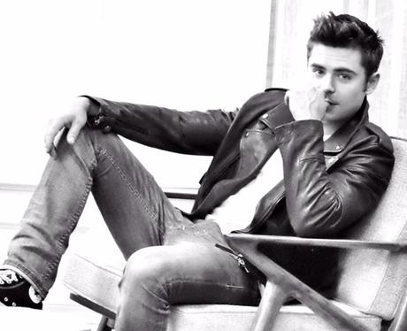 Zac Efron posing black adn white