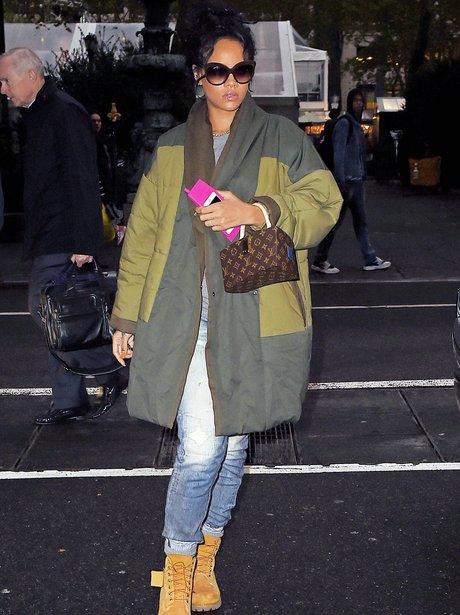 Rihanna wearing a winter coat in New York