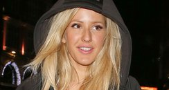 Ellie Goulding wearing leather trousers in London