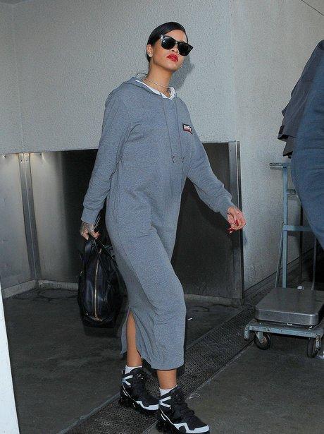 Rihanna seen at Lax airport