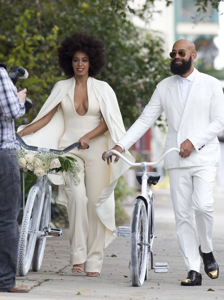 Solange Knowles and Alan Ferguson arrive at their wedding