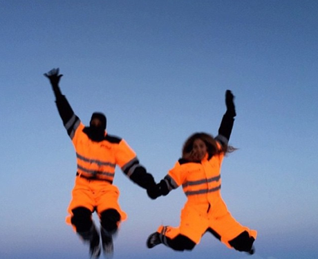 Beyonce and Jay Z Skiing
