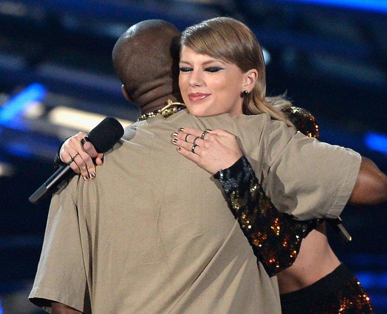Kanye West and Taylor Swift at the MTV VMAs 2015