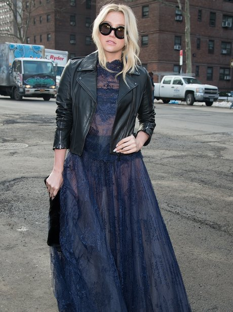Kesha Sheer Dress Leather Jacket