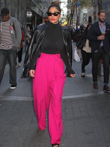 Nicole Scherzinger Pink Trousers