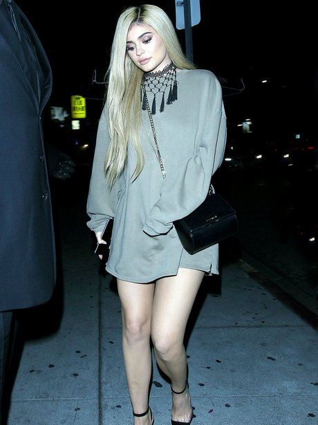 Kylie Jenner out and about in short dress and blon