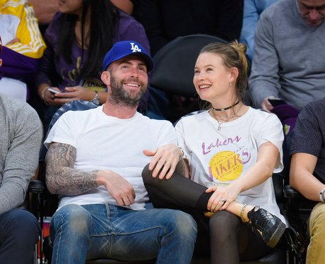 Adam Levine takes his wife to a basketball game
